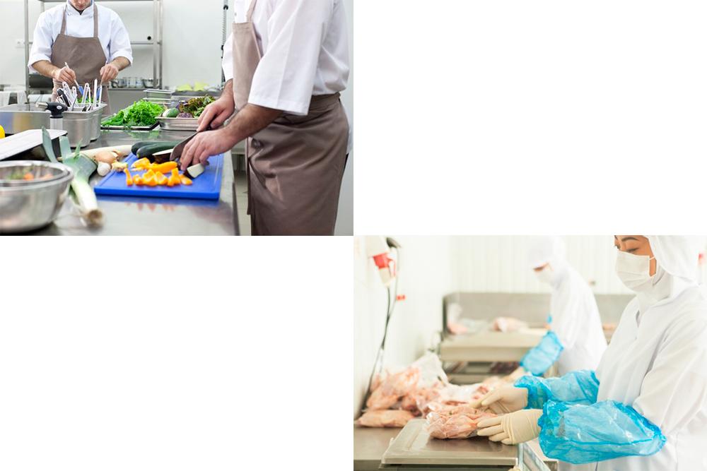 食品工場や飲食店厨房